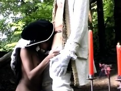 Horny Perv Makes Hoy Sista Kneel Outdoor To Suck Off His