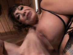 Buxom Oriental Nympho In Fishnets Gets Her Peach Devoured And Fingered