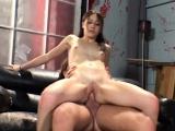 Pigtailed brunette teen stuffs a long cock deep inside her anal hole