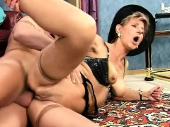 Slutty Blonde Granny Takes Every Inch Of A Long Stick Deep In Her Ass