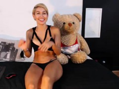 Hot Blonde Amazon In Sexy Black Lingerie Plays With A Teddy
