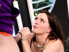 Busty Cougar Blows Cock Then Masturbates