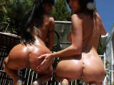 Frisky lesbos fill up their huge butts with milk and burst i