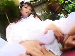 Seductive Japanese Girl In White Kneels Down And Worships A