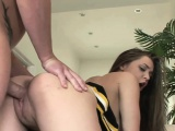 Brunette teen Tiffany Star lifts her skirt to get pounded