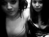 Two hot scene teens flash and finger on webcam