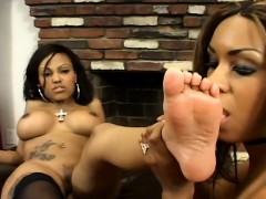 Slender Chocolate Beauties Surrender Their Lovely Feet To One Another