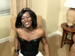 Feminine Ebony Shedoll Is Dancing In Black Leather Corset