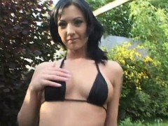 Cutie Destiny As She Plays With Her Dildo Outdoors