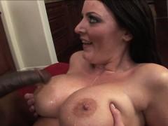 Big tit brunette Sophie Dee has interracial fun