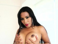 Milf Chubby Shemale Plays Solo