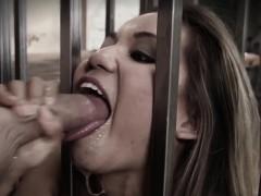 Caged Submisive Slut Deepthroats Till Gagging