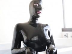 sexy pornstar latex with cumshot