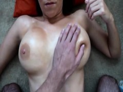Dirty Brunette With Big Tanned Boobs Sucks Hard Cock