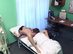 Doctor Checking Breasts To Sexy Patient