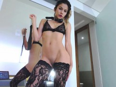 fingering-in-thigh-high-stockings