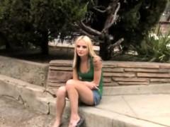 Blonde Babe Faye Runaway Takes Long Black Rod