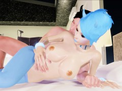 3d Virtual Emo Scene Girl In Blue Tights Fucks Hard!