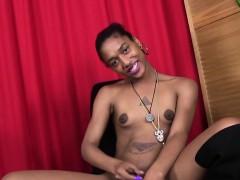Ebony Tgirl Amateur Stroking Her Cock Solo