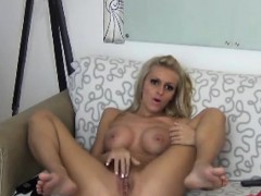 Blonde Slut Masturbating And Toying Her Wet Pussy While Teas