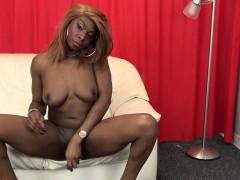 Highheeled Ebony Tranny Jerking Off Her Bbc
