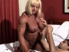 Muscle Woman Giving Handjob