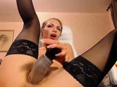Blonde In Stockings Does Anal Fuck