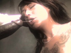 Tattoed Babe Gags On Black Cock