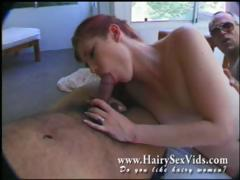Redhead Hairy Bitch In For 3some