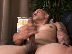 Tattooed Military Guy Working On His Long Hard Cock