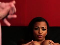 Black british voyeur teases sub with her tits