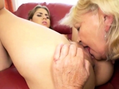Brunette Teen Eats Hairy Mature's Pussy