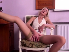 Small titted mom Artemia rubbing her shaved pussy