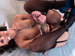 nipple-clamped-sub-spreadeagled-for-toying