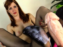 Slut In Nylons Jerk Dildo With Her Feet