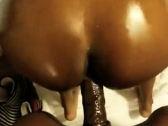 chubby ebony with a massive butt takes it hard doggystyle