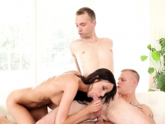 Gay Couple And Babe In Great Threesome