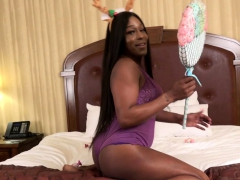 Busty Black Ts Cums After Jerking Fat Cock