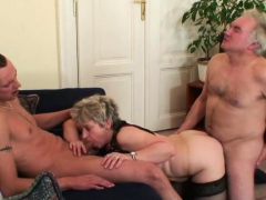Horny Old Bitch Takes Two Cocks From Both Sides