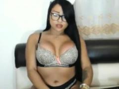 Busty Latina Shemale In Stockings Masturbates