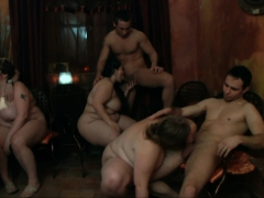Chubby Party Girl Swallows Cocks From Both Sides