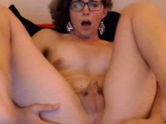 Horny Tgirl Dildo Fuck Her Ass While Jerking