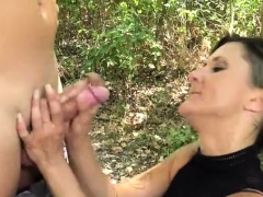 Brunette Amateur Outdoor With Cumshot