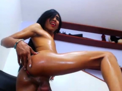 Sexy Brunette Tgirl With Small Tits Jerks Off On Webcam