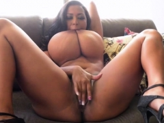 tanned-busty-milf-doing-striptease-and-fingering-herself