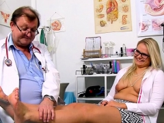 brunette-doctor-gaping-with-cumshot