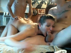 Two Amateur Brunette Nympho Horny Anal Threesome