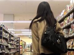 Asian Babe Pulls Up Skirt