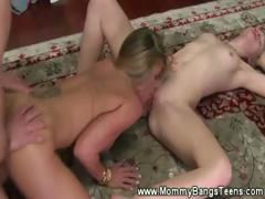 Mom Gets Pounded While Licking A Pussy