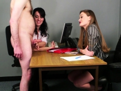 office-babes-stroking-dick-during-cfnm-fetish